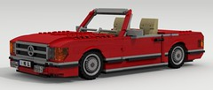 Mercedes-Benz SL Roadster (large scale) (LegoGuyTom) Tags: old city classic cars scale car digital vintage germany mercedes benz power lego pov designer famous large convertible german mercedesbenz legos download vehicle v8 dropbox roadster povray ldd lxf
