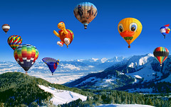 SWITZERLAND - Start for a splendid flying in a limpid sky !! (Jacques Rollet (Little Available)) Tags: ciel sky groupenuagesetciel montgolfière landscape montagne snow neige balloon mountain winter hiver paysage