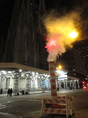 Steam Vent Past Midnight 2014 NYC 1009 (Brechtbug) Tags: street new york city nyc horses orange church saint st night vent evening saw construction traffic cathedral cone manhattan pipes pipe patrick s off steam steeple midtown nighttime midnight avenue past 5th cones vents sawhorse 2014