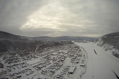 KAP Dawson, Yukon. 8 Feb 2014. Cameron Eckert (Cameron Eckert) Tags: above winter wild sky kite canada art beauty river photography flying flyer lift view wind north flight aerial yukon string wilderness kap northern dawson perfection kiteaerialphotography goldrush skill gopro kiteaerialphotograpy