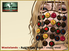 Bliensen - Wastelands - Bottle Cap Mask (Plurabelle Laszlo of Bliensen + MaiTai) Tags: necklace punk veil mask grunge apocalypse fantasy neko bottlecaps bottletops postapocalyptic rustique postapoc