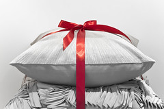 Pillows Wrapped Red Ribbon Present (Orbmiser) Tags: christmas autumn fall oregon portland nikon sheets pillow gifts ribbon d90 55200vr