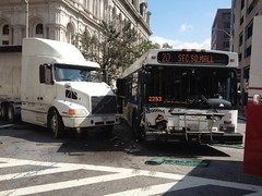 MTA bushit by truck, Baltimore MD. 9.20.14. (dfirecop) Tags: bus publictransportation crash accident transportation wreck dfirecop