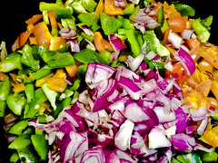 Des Colores! -or- Yellow & Green #Peppers with Red #Onion  - v841 (SouthernBreeze) Tags: trip travel family friends light red food orange color green love cooking apple colors vegetables yellow fun pepper hope beans corn iron catholic purple i5 bell sweet song faith religion magenta tasty sing meal link pan onion ios episcopal skillet iphone 2014 southernbreeze sooc descolores iphoneography