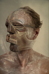 Faunus Lupercus II (Marine Lupercale) Tags: wood man composition digital mask digitalart manipulation montage oil wax flour