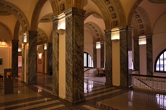 Approaches And Exits (MPnormaleye) Tags: city urban classic architecture tile arch library pillar wideangle hallway stairway mezzanine utata marble ironwork bannister mozaic 18mm