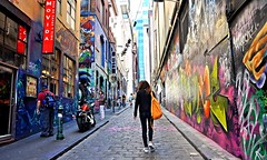 Melbourne Street Art (missgeok) Tags: lighting people streetart art colors beautiful composition painting walking graffiti interesting alley mood colours artistic pov path candid perspective expressions atmosphere australia melbourne streetscene victoria tourist textures laneway colourful framing popular artworks streetshot leadingline paintingonwalls hoiserlane onelady missgeok