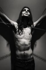 Personal Jesus. (Intimate.) Tags: portrait blackandwhite blancoynegro photography chains cadenas nikon retrato fotografia carmen personaljesus parreo