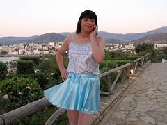 Breeze (Paula Satijn) Tags: blue white hot sexy girl smile happy shiny outdoor silk skirt tgirl crete transvestite satin miniskirt gurl