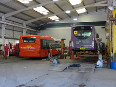 Grant Palmer Scania OmniCity BU51WAY & ADL Enviro 200 SK15HFP under maintenance in the depot in Flitwick (Mark Bowerbank) Tags: grant under palmer 200 maintenance depot scania enviro adl flitwick omnicity bu51way sk15hfp