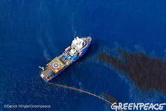 Skimming Oil in Gulf (Greenpeace USA 2016) Tags: ocean usa gulfofmexico louisiana ship gulf shell greenpeace aerial oil drilling skimming fossilfuel breakfree cleanenergy portfourchon