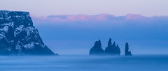 Reynisdrangar (dawvon) Tags: ocean longexposure travel sunset sea sky panorama cloud seascape nature water rock stone landscape iceland twilight europe cloudy dusk nordic bluehour atlanticocean sland basalt vk rockformation halflight blacksandbeach reynisfjara northatlanticocean reynisdrangar suurland reynisfjall vkmrdal southernregion republicoficeland reynisfjallmountain basaltseastacks lveldisland reynisfjarabeach