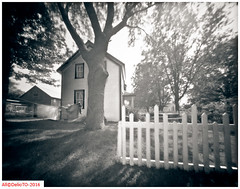 On Talbot Street (DelioTO) Tags: trip canada rural blackwhite spring quebec may trails pinhole historical 4x5 toned gaspsie natparks adoxchs100 autaut f175 aph09
