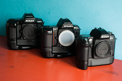 Bad Boys; Nikon F90x, F-801s, F80 with grips (leunkstar) Tags: camera lens nikon indoor ishootfilm f90 electronics grip nikonn80 analogphotography n90 f90x nikonn90s nikonf80 nikonf90x cameraporn nikonn90 n90s cameragear f801s filmphotography batterygrip f801 n8008 analogcamera n8008s nikonf801 nikonf801s nikonf80d filmisnotdead nikonf90 nikkor2880 nikonn8008 japancamera iusefilm nikon2880mm nikkor2880mm nikonn8008s mb16 nikonf80s nikon2880 cameraaddict believeinfilm buyfilmnotmegapixels camerastyle filmcomunity staypoorshootfilm wearefilmfolks filmisthefuture nikonmb16