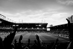 Raise Your Hands! (The_Kevster) Tags: sky blackandwhite bw game london monochrome clouds evening stand football nikon shadows arms stadium end match pitch dslr watford eastend eastlondon floodlights westhamunited 2016 westham premierleague uptonpark bobbymoore boleyn nikkor1855mm boleynground londoneast bobbymoorelower nikond3300 lastdaysoftheboleyn