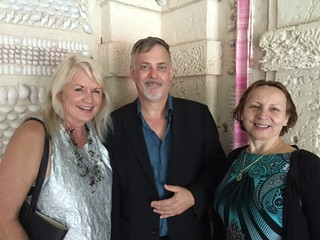 Collector and artist Nancy Boggio with Remco Jansonius, Vizcaya collections Director, and Opera singer Natalka Straczynsk in the Vizcaya grotto