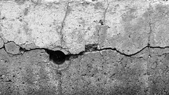 Cracked Concrete Firepit (K.G.Hawes) Tags: park old blackandwhite bw monochrome concrete ruins hole cement monochromatic crack cracks agriculture cracked