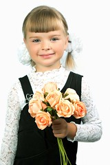 First grader girl in school uniform with a bouquet of flowers (khanov2007) Tags: flowers school baby holiday cute girl childhood jewelry beginning learning uniforms bouquet elegant bows whiteblouse september1 firstgrader haircombed