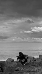 taking pictures (Fer Gonzalez 2.8) Tags: leica sea sky woman monochrome clouds blackwhite rocks photographer mdq leicadlux4