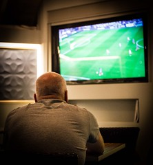 Worried (Sten Dueland) Tags: kreta haugesund football worried worries game soccer championship champion league match tv watch watching supporter team