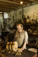 The cooper's shop (Irina1010) Tags: man cooper craftman barrel wood shop tools middletonplace skill timeperiod canon outstandingromanianphotographers