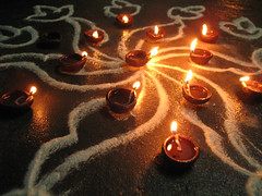Kolam with candles detail.jpg (melissaenderle) Tags: kolam tamilnadu vacation asia celebration pondicherry