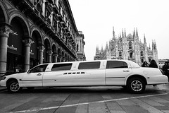 Limousine (petia.balabanova) Tags: street city travel blackandwhite italy milan monochrome car square monocromo italia milano citylife duomo biancoenero 1635mm nikond800