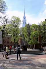 Old North Church (oxfordblues84) Tags: city sky urban cloud history church boston clouds massachusetts churchtower historic freedomtrail cloudysky walkingtour episcopalchurch historicchurch bostonmassachusetts paulreveremall churchsteeple bostonfreedomtrail brickpavedpark