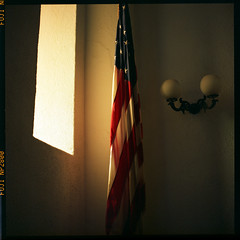 flag by a window (-{ ThusOriginal }-) Tags: summer color film window fuji warmlight hasselblad501cm smithsonianmuseum thusihaveseen