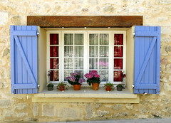 Window ledge garden: Ampus, Var, Provence, France (Spencer Means) Tags: window ledge sill garden potted shutters wall stone street ampus var provence provencealpescotedazur france south pot dwwg flower bloom plant