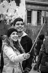 Happy selfie (dharder9475) Tags: people blackandwhite bw woman man outside outdoors candid tourist millenniumpark visitors 2015 selfiestick privpublic selfiecamera