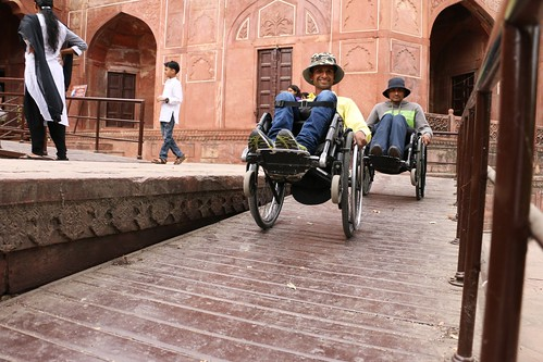 Accessible Tour to Agra:Two travellers who were wheelchair users can be seen here navigating their way using ramps.