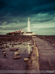 Reflectiing on St Mary's (go18lf2004) Tags: outdoors seacapes landscapes lighthouse island causeway northeast england northumberland historical water reflections shoreline light clouds structures buildings rocks mood atmosphere colour calming tranquil serene rockpools northsea