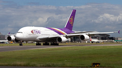 Thai A380 At Heathrow. (spencer.wilmot) Tags: a380 tha thai tg egll lhr heathrow london 27l plane jet jetliner super heavy huge massive big clouds widebody longhaul doubledecker aviation airplane aircraft airliner airport airside apron airbus departure runway ramp taxiway takeoff