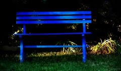 ~~ Le banc bleu ~~ (Jolisa) Tags: banc bleu blue soir evening lumire light aot2016 jardin nature
