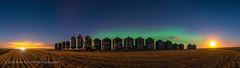 Harvest Moon Aurora (Amazing Sky Photography) Tags: acr alberta arcturus aurora bigdipper harvestmoon northernlights perseus farm field grainbins panorama