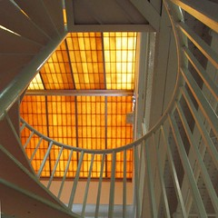 sunny stairs (weltreisender2000) Tags: yellow orange skylight spiral stairs staircase geometry abstract lines curves atlanta