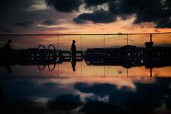 Double (Margot in Love) Tags: reflection spiegelung pool wasser water sun sunset sundown sonne sonnenuntergang vacation holidays urlaub shadow schatten wolken clouds himmel sky salou