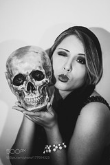 Lili (southjerseseyhvac) Tags: girl retro old vintage film black white halloween fashion analog young skull creep 20s 1920s flapper