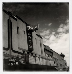 Fine Arts Theater (tobysx70) Tags: the impossible project tip polaroid sx70sonar sonar instant black and white bw film for sx70 type cameras impossaroid fine arts theater north elm street denton texas tx dinema movie opera house neon sign marquee closed clouds mint lens set yellow filter polacon2016 polaconone 100116 toby hancock photography
