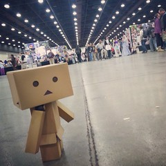 I finally bought a #danbo! Here he is, checking out #youmacon ! (pixachii) Tags: square sierra squareformat danbo revoltech cardbo iphoneography instagramapp uploaded:by=instagram foursquare:venue=4b48b80bf964a520025426e3