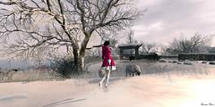 la fille en rouge  Frisland 2 (Leinjan Aries) Tags: trees winter snow girl landscape artwork secondlife paysage frisland