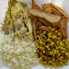Square meal: Lemon pepper chicken (Coyoty) Tags: food brown white chicken college yellow pepper cafe lemon corn rice connecticut ct vegetable potato farmington roasted wedges cornercafe squaremeal tunxiscommunitycollege