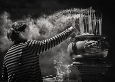 Burning Incense (Trent's Pics) Tags: temple cambodia buddhist monastery phnompenh spiritual prayers incense