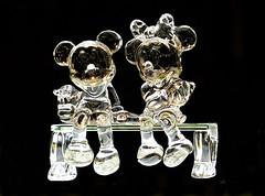 Crystal Mickey & Minnie Mouse (thinduck42) Tags: california sculpture glass nightshot crystal disneyland panasonic mickeymouse amusementpark minniemouse themepark downtowndisney fz200