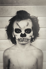 Boo (Kevin Conor Keller) Tags: boy blackandwhite halloween canon skeleton skull costume scary child young boo 40mm facepaint noise 60d
