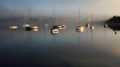 Mist (rogermarcel) Tags: light panorama sun mist sunrise boat bateau brume waterscape rogermarcel