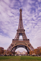 Eiffel Tower Portrait 2 (oliverbaxter1988) Tags: city light portrait sky paris france tower canon de landscape lights la europe tour angle vibrant details wide arc trails engineering eiffel panoramic structure notre dame montparnasse defense structural 2014 triumphe