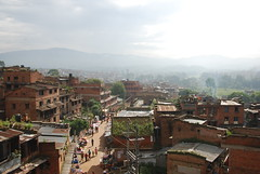 Streetview city center Bhaktapur, Nepal (Tom Hazen) Tags: world street city morning nepal mist mountain heritage site view place cities royal center unesco valley kathmandu himalaya devotees bhaktapur khwopa bhadgaon