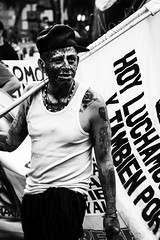 Tattoo Fighter (snarulax) Tags: street city november portrait white black blanco students tattoo mexico march calle df retrato flag negro protest noviembre protesta bandera 20 journalism 43 tatuaje periodismo marcha estudiantes 20nov ayotzinapa